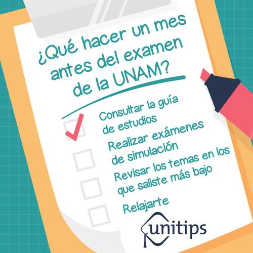Qué hacer un mes antes del examen de la UNAM
